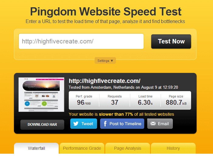 Website speed test_before